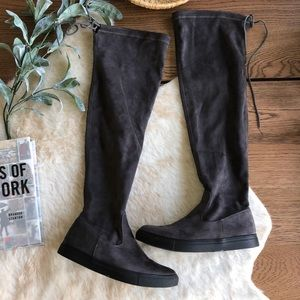 Qupid gray faux suede over knee boots